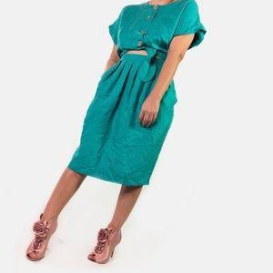 Vintage Tie Front Cut-Out Midi Dress